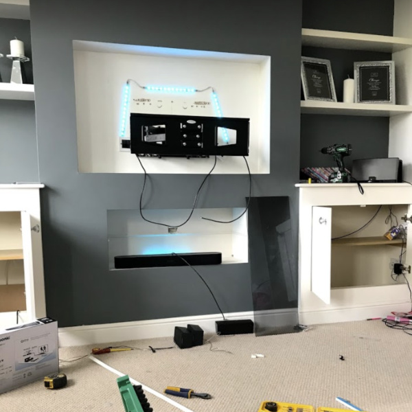 tv wall mount frame in living room